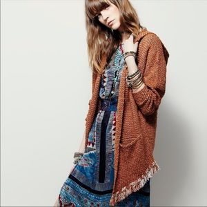 FREE PEOPLE Love Me Tender Fringe Hooded Cardigan